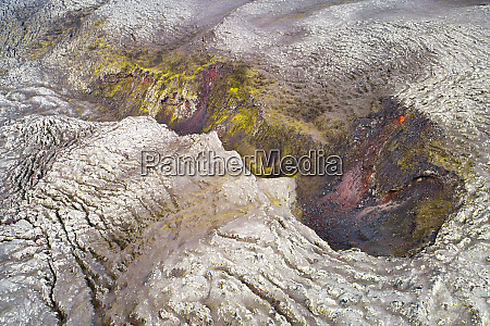 aerial view of a crater on