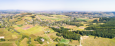 aerial view of agricultural countryside with