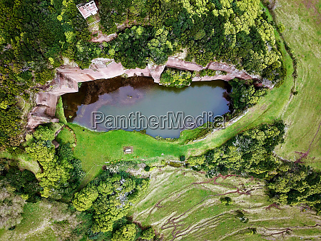 aerial view of a pond on