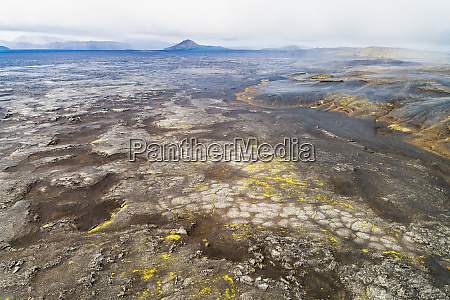 aerial view of lava field and