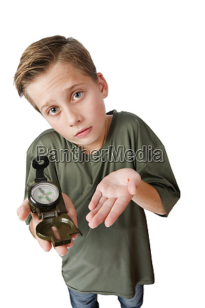 boy hold a compass on white