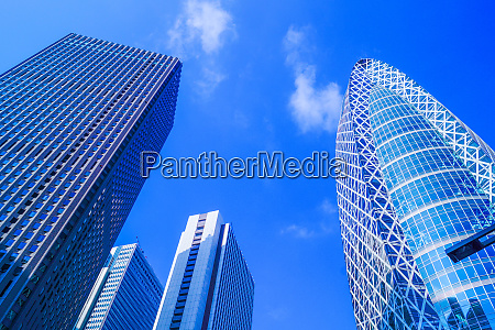 skyscrapers and the blue sky of