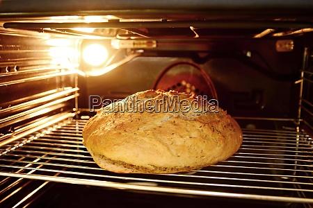 baking bread in oven