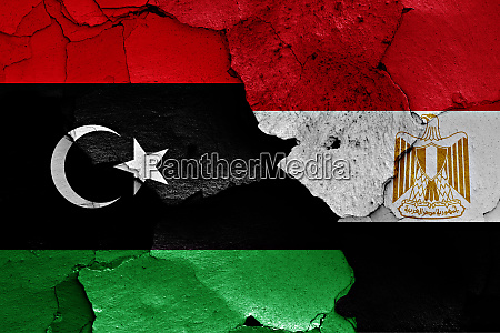 flags of libya and egypt painted