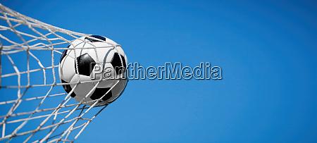 soccer ball in the net of