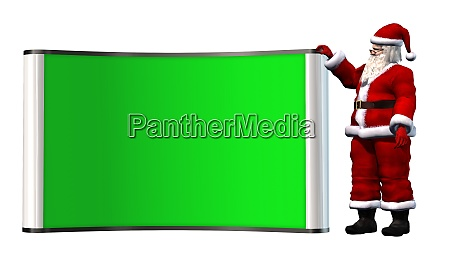 santa claus beside green screen billboard