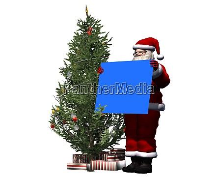 santa claus with blue shield
