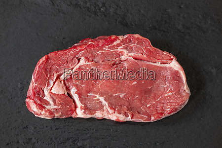 overview of a raw steak on