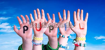 children hands building word pupil blue