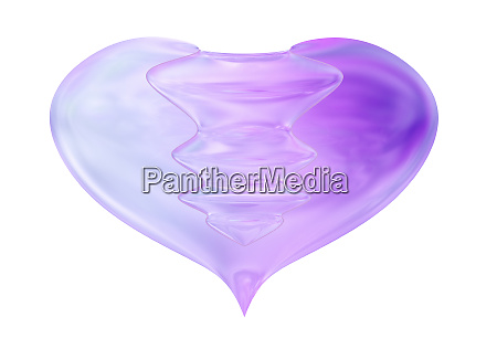 fused glass decorative heart isolated on