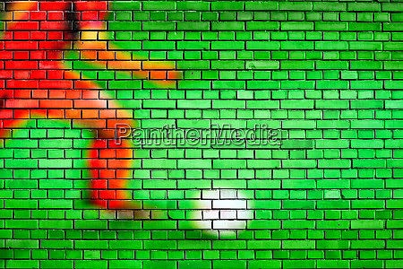 soccer background painted on a brick