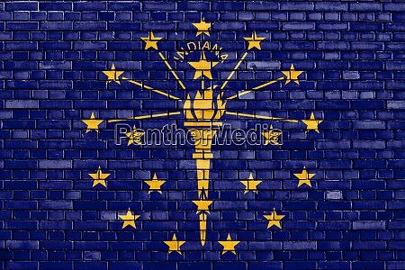 flag of indiana painted on brick