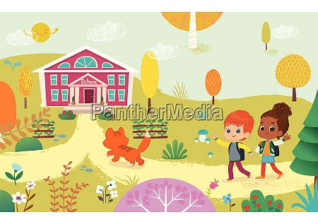 vector illustration of two kids with