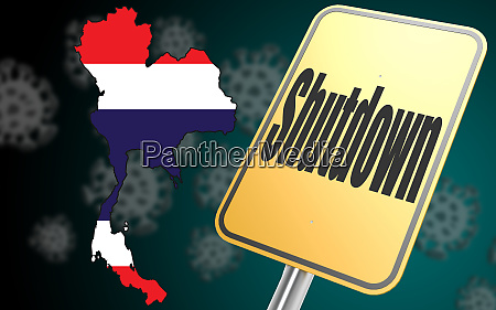 shutdown sign with thailand map
