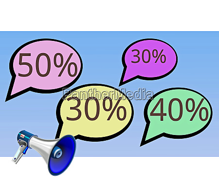 discount bubbles with a megaphone