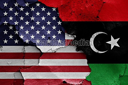 flags of usa and libya painted