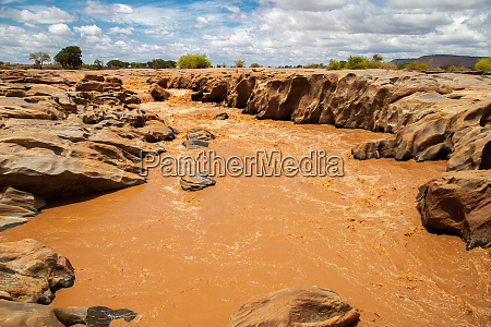 galana river in kenya blue sky