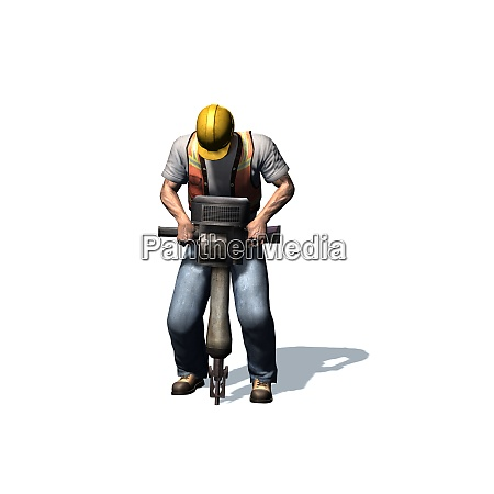 laborer works with jackhammer isolated