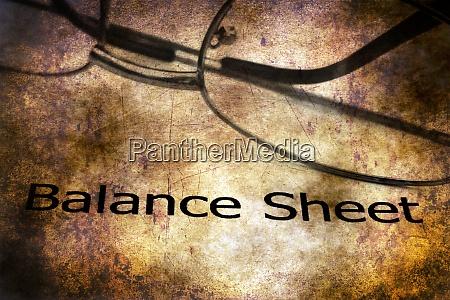 balance sheet grunge concept