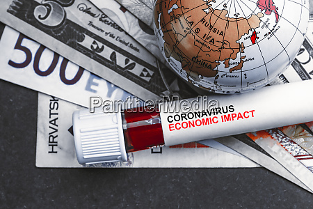 coronavirus economic impact text with currency