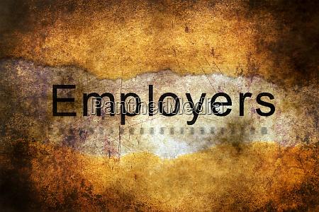 employers text on grunge background
