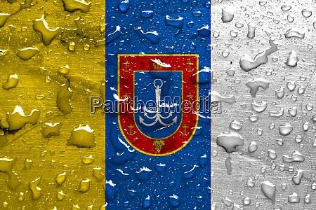 flag of odessa oblast with rain