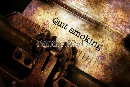 quit smoking text on typewriter