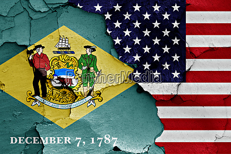 flags of delaware and usa painted
