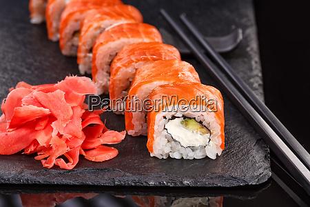 beautiful philadelphia rolls with salmon and