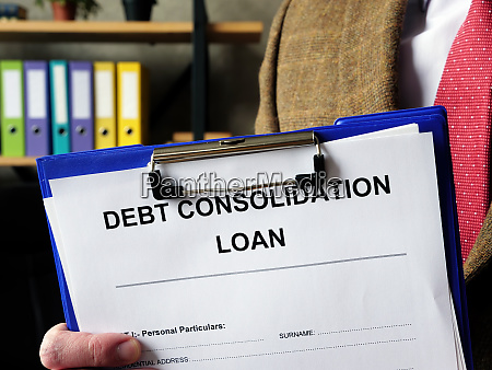 banker offers debt consolidation loan documents