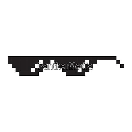 sunglasses pixel style vector icon