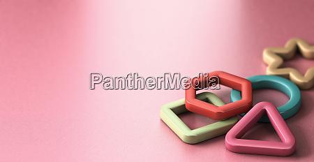 children education basic shapes over pink