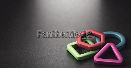 3d basic shapes over black background