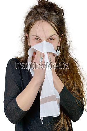 young woman has a cold on