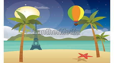 hot air balloon flying above beach