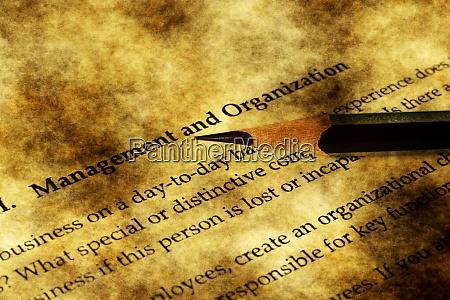 management and organization grunge concept