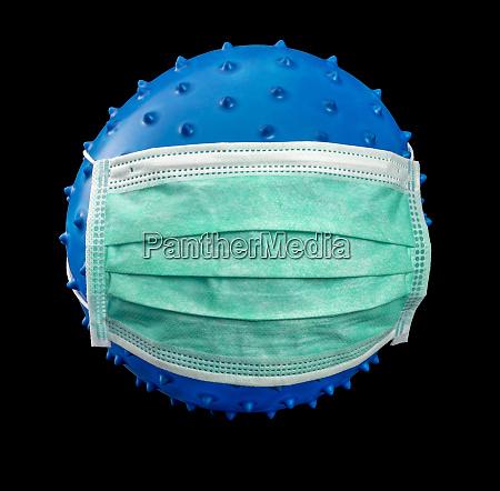 symbolic virus with face mask