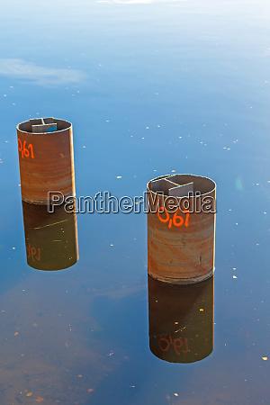 steel beams water