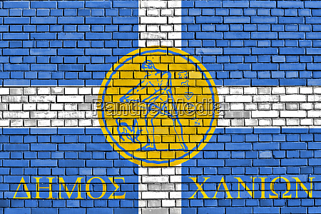flag of chania painted on brick