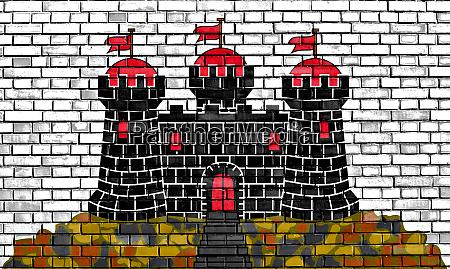 flag of edinburgh painted on brick