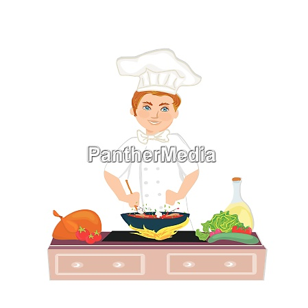 cheerful chef cooks healthy and tasty