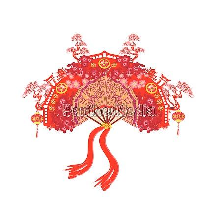 chinese landscape and beautiful fan