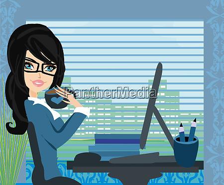 beautiful secretary working with computer
