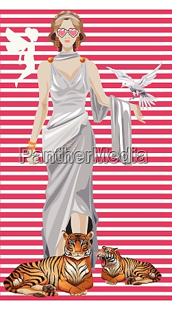 a lady with angel birds and