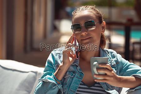 nice girl enjoying coffee break