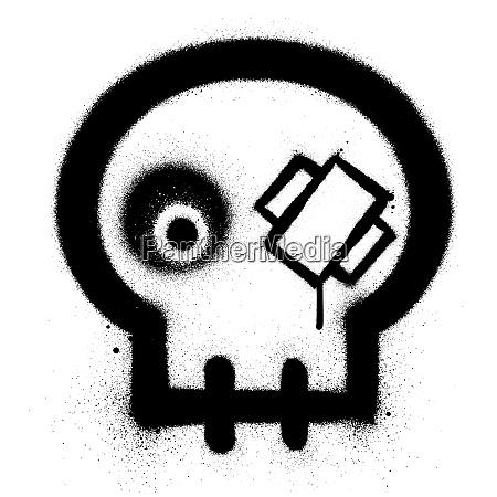 graffiti injured skull icon sprayed in