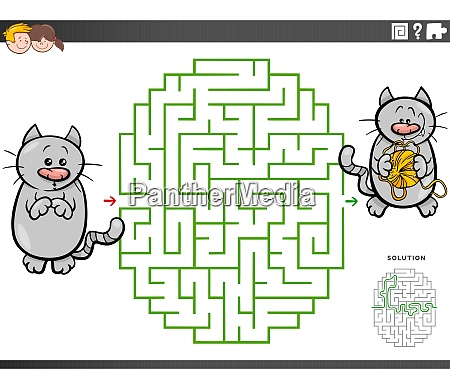 maze educational game with cartoon cat