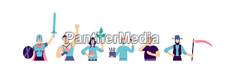 different subcultures flat color vector faceless