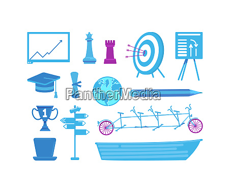 business and education flat color vector