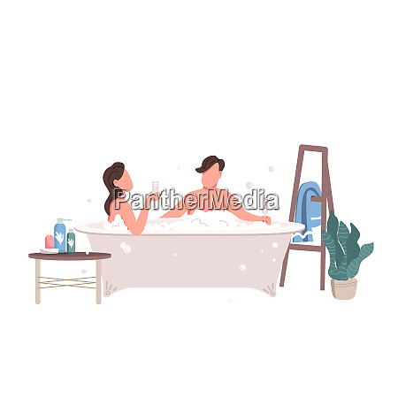 couple taking bath flat color vector